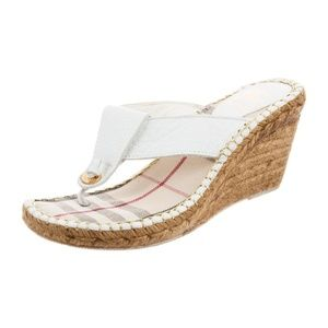 Burberry Espadrille White Wedge Heel Sandal 8